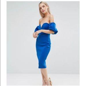 ASOS Design Blue Puff Sleeves Cocktail Dress